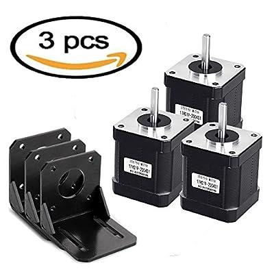 Doris Direct 3 PCS Nema 17 Stepper Motor Bipolar 2.0 A 83.6oz.in(59Ncm) 47mm Body 4-lead w/1m 4-Pin Cable +3 PCS Nema 17 Mounting Brackets for 3D Printer/CNC