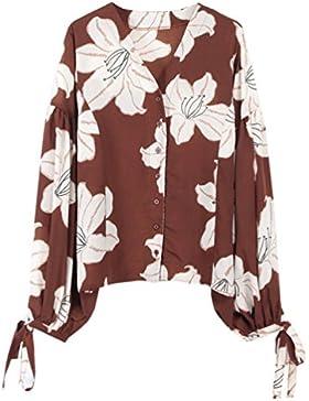 YNuth Camicetta Camicia Bluse Fiore Stampato Manica a lanterna in Chiffon Manica Lunga Vintage Stile Donna Blouse
