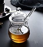 Fecihor Tarro para Miel Vaso Contenedor de Miel con Dosificador, Transparente, 9 onzas