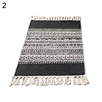 Therecoe86 Carpet &Tapestry,Cotton Linen Tassel Non-Slip Door Sofa Mat Floor Carpet Area Rug Tapestry Decor - 2#