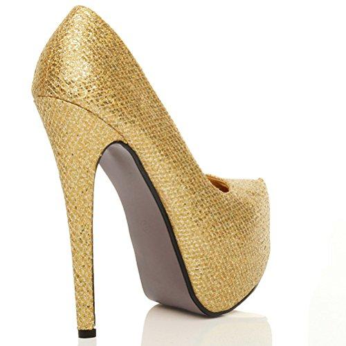 Damen Sehr Hoher Absatz Verdeckter Plateausohle Party Pumps Schuhe Größe Gold Glitzer Gittergewebe