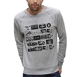 Sweatshirt Bedruckt Bio grau Raglanärmel–Kassetten Audio Vintage–Herren des XS bis XXL Gr. Medium, grau