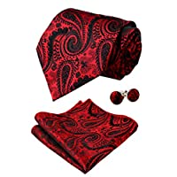 Alizeal Mens Paisley Tie, Pocket Square and Cufflinks Set, Wine Red