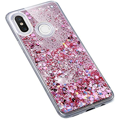 Uposao Compatible con Xiaomi Mi 8 Funda,Transparente Líquida Fluido Carcasa Purpurina Brillos Brillante Bling Glitter Cristal Silicona TPU Gel Suave Flexible Funda Teléfono Móvil,Rosa