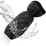 Yikaich Grattoir à Glace Gant Doublure en Molleton Chaud avec Raclette Brosse à Neige pour Pare-Brise de Voitures SUV/Camion - Bleu/Noir (Noir, 1pcs)