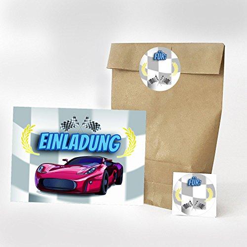 16 Einladungskarten, 16 Geschenktüten und 16 Etiketten zum Kindergeburtstag - Motiv Auto / Kart fahren / Einladung - für Jungen und Mädchen / Geburtstagseinladungen Party