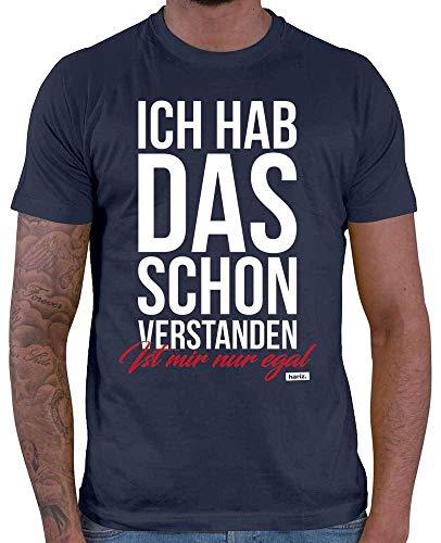 HARIZ  Herren T-Shirt Ich Hab Das Schon Verstanden Ist Mir Nur Egal Statement Spruch Plus Geschenkkarten Navy Blau 5XL