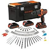 Black+Decker BDCHD181B3A-QW - Taladro percutor 18V 1.5Ah Litio, 3 baterías, cargador rápido, 120 accesorios, caja de herramientas