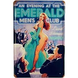 Blechschild 20 x 30 cm Cartel de chapa Pinup Emerald Men 's Club 20x 30cm Diseño Retro 963