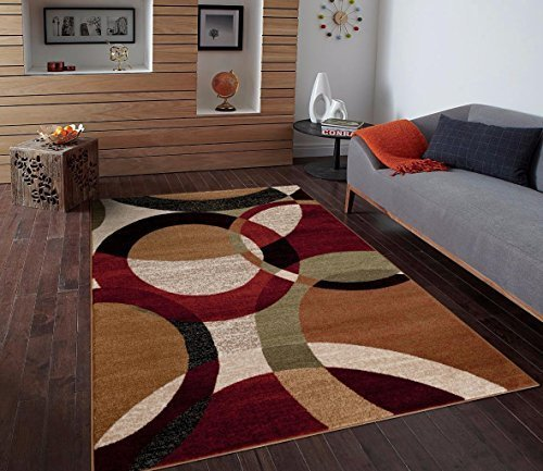 5 Rug 7 Green X Area (T1011 Black Cream Green 5x7 Rust Burgundy Abstract Area Rug Carpet by Persian-Rugs)