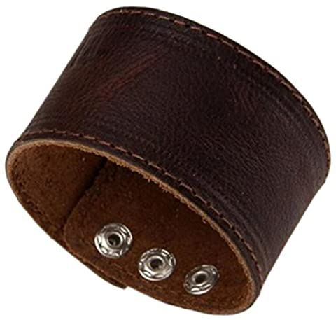 Herren SIMPLE Dark Braun Single Layer Leder Armbänder Armband Armreif