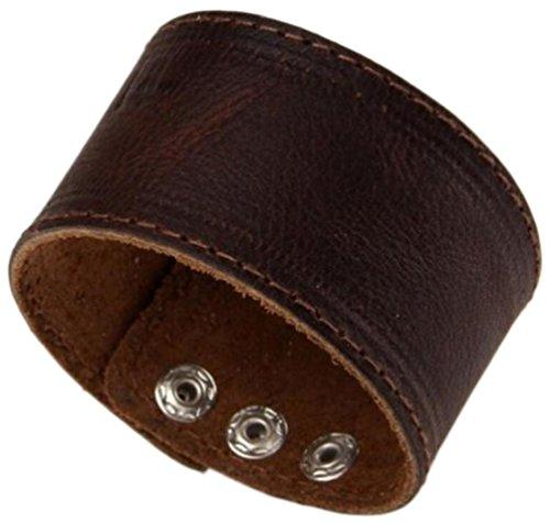 Herren Dunkelbraun Leder Armband Single Layer Armband Armreif, Länge: 21.9cm (Zwei-knopf-single Herren)