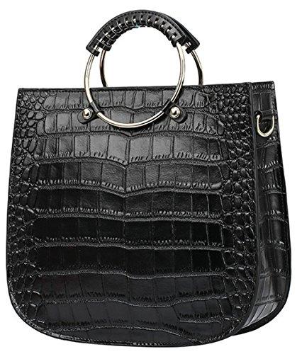 Xinmaoyuan Sacs à main pour femme Sacs à main en cuir de vachette sac à main Sac rétro anneau motif crocodile sac de messager d'épaule Black