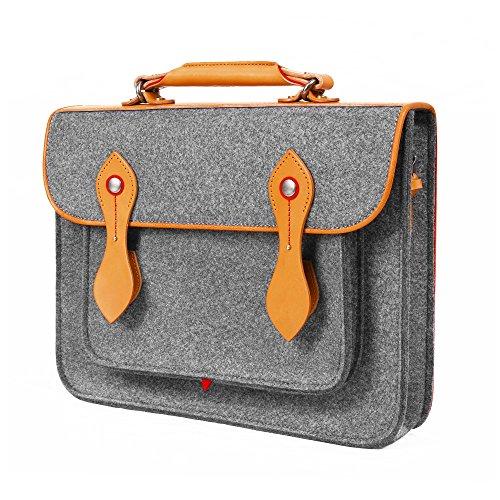 TOPHOME Cambridge Laptop Tasche Schultasche Umhängetasche Retro Wollfilz Laptop-Umhängetasche Handtasche mit Griff aus echtem Leder Aktentasche für 33,8 cm MacBook Air & MacBook Pro grau -