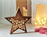PureDay Weihnachtsdeko LED Stern Goldene Kugeln Beleuchtet Holz Kunststoff Gold