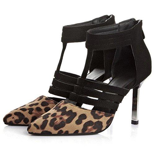 COOLCEPT Femmes Black/Leopard Print Talon Aiguille Heel Robe Escarpins Leopard print