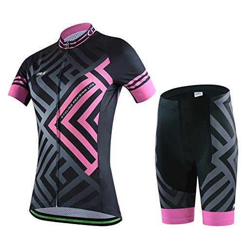 Skysper completo abbigliamento ciclismo, set abbigliamento ciclismo per coppia ciclismo maglia manica corta + pantaloni traspirante 3d imbottito in bicicletta per donna rossa