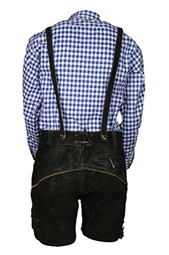 MS-Trachten Trachtenset Kinder Lederhose Trachtenhose mit Hemd (128, blau-kariert) - 2