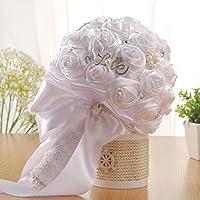 Hunpta - Ramo de novia de flores de seda artificiales con rosas de cristal, perlas para dama de honor, B