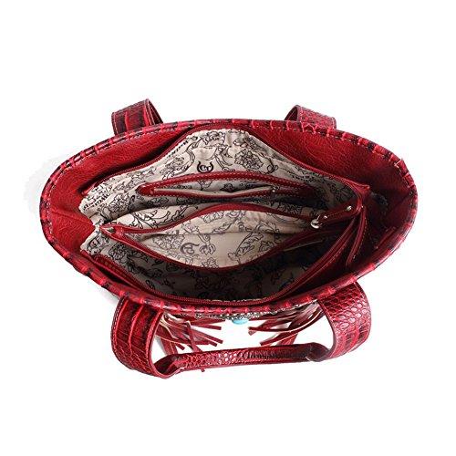 Blancho Bedding Womens [Vest S # 2] Cuoio borsa di modo nappa elegante borsa a spalla Nero Handbag S#1-Burgundy