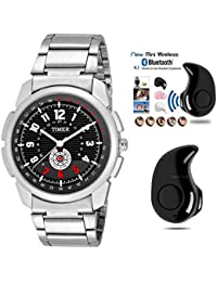 TIMER Combo Of Stylsih Silver Color Dial Watch With Mini Stereo Bluetooth 4.1 Headset For Men & Boy's