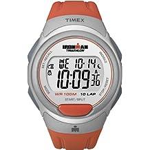 Timex Sport Ironman Fullsize Quartz Watch with LCD Dial Digital Display and Orange Resin Strap T5K611SU