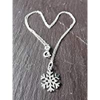snowflake necklace - sterling silver snow flake pendant chain, winter necklace, Christmas necklace,