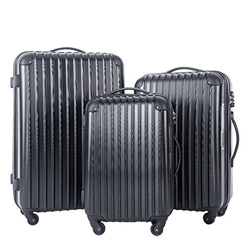 Travelhouse Hard Shell Travel Luggage Sets of 3 TSA Locks Lightweight suitcase On Wheels Holdall (20/24/28 inch) (Black)