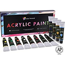 Acrylic Paint Set By Color Technik, Professional Artist Quality, Palette Included, 12 Aluminium Tubes, Best Colours For Painting Canvas, Wood, Clay, Fabric, Nail Art and Ceramic, Rich Pigments, Gift Me