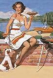 Schatzmix Pinup/Pin up Sexy Frau mit Burgers Hund und Grill Erotik blechschild