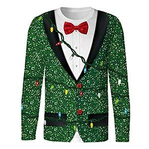 Sweatshirts 3D Print Herren Ugly Christmas T-Shirt Neck Pullover Freizeithemd