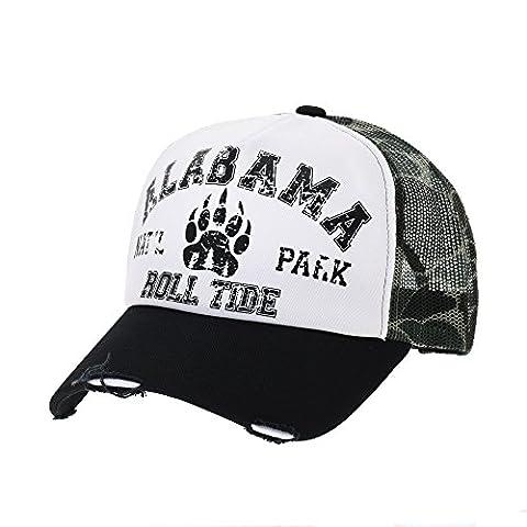 WITHMOONS Casquette de Baseball Vintage Baseball Cap Meshed Distressed Trucker Hat NC1714 (Black)
