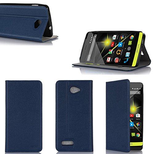 XEPTIO Ultra Slim Tasche Leder Style Archos 50 Diamond 4G Hülle blau Cover mit Stand - Zubehör Etui Archos 50 Diamond 4G Flip Case Schutzhülle (PU Leder, Blue) Accessoires 2015