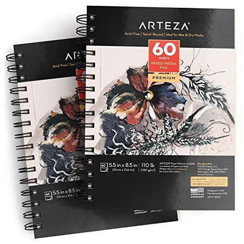 ARTEZA Zeichenblock 140 x 216mm   Mixed Media Sketchbooks   Spiralgebundener Skizzenblock mit 60 Blättern   180gms Säurefreies Papier   Perfekt für Nasse und Trockne Medien - 2 Stück