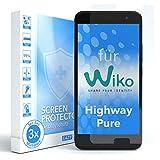 EAZY CASE 3X Bildschirmschutzfolie für WIKO Highway Pure, nur 0,05 mm dick I Bildschirmschutz, Schutzfolie, Bildschirmfolie, Transparent/Kristallklar