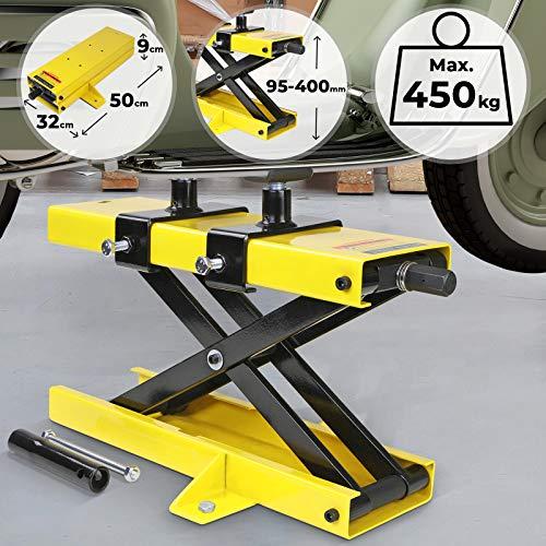 Cric Moto - Charge max 450 kg, Orange - Plate-forme élévatrice, Support de montage et levage