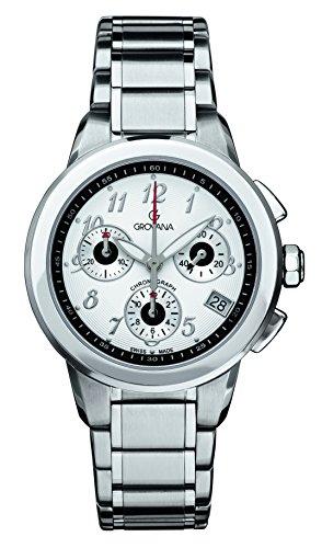 GROVANA 5094,9132 Swiss-Orologio Unisex al quarzo, quadrante bianco Display con cronografo e cinturino in acciaio INOX color argento