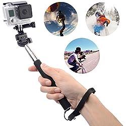 XCSOURCE® Nero Portatile Autoscatto Monopiede telescopica allungabile palo estensibile supporto telescopico bacchetta palmare + adattatore per treppiede Per GoPro Hero 1 2 3 3 Hero 4 + OS010