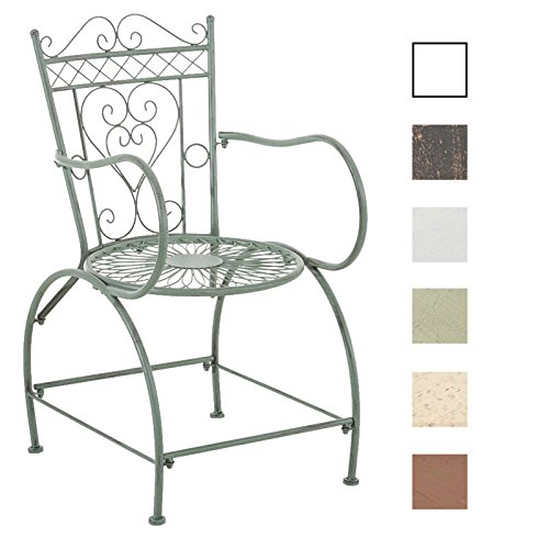 CLP Chaise de Jardin en Fer Forgé Sheela - Design Romantique avec Dossier Accoudoirs et Repose-Pieds - Chaise de Terrasse en Fer Belles Décorations - Disponible en Pluisieurs Couleurs: Vert Antique