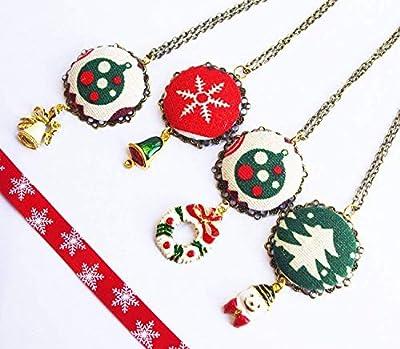 Collier Noël Bijoux Secret Santa sapin boule père noel cloche couronne - Tenue du Réveillon 24 25 décembre - cadeau femme jeune fille pour aller avec son pull Ugly sweater