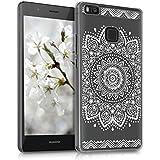 kwmobile Crystal Case Hülle für Huawei P9 Lite mit Blume Design - transparente Schutzhülle Cover klar in Weiß Transparent
