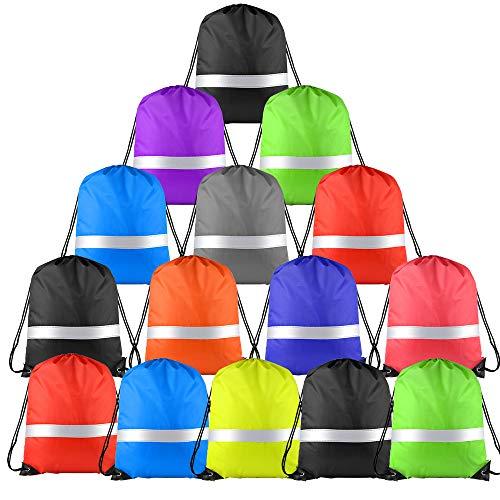 FEPITO 15 Pack Borsa a Tracolla con Coulisse Multicolore con Striscia Riflettente, Zaino da Sacco a Zaino con Cinch per Lo Sport in Palestra (Colorful)