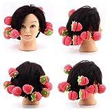 Clest F&H(R)12pcs Hair Curler Balls Soft Sponge Cute Magic Strawberry Style DIY Hair Curling Enhancer Care Tools