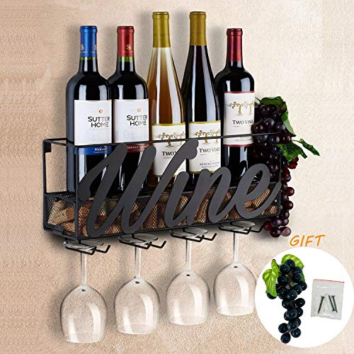 Tinyuet Botellero de Pared | Porta otella y Vaso | Tienda de Almacenamiento de Vino Tinto, Champagne, Bebida | Decoración para hogar y Cocina | Estante de Almacenamiento