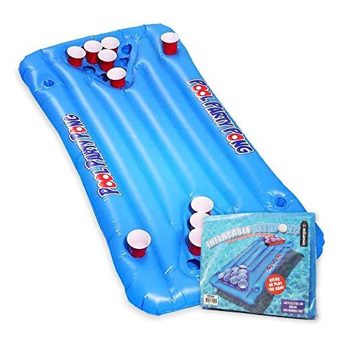 mikamax - Aufblasbarers Bier Pong - Large - Blau - Pool Luftmatratze - Inflatable Beer Pong - Trinkspiele - Pool Floß - Pong Tisch