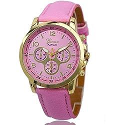 Geneva Platinum Analog Pink Dial Women's Watch - GP-202