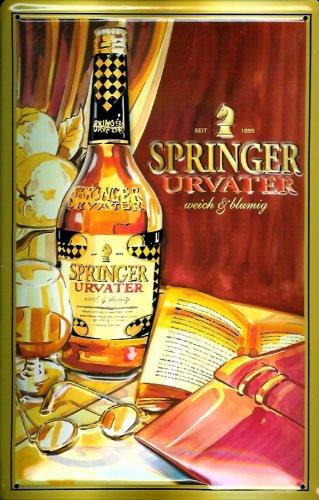 Blechschild Nostalgieschild Springer Urvater Cognac Weinbrand Brandy Schild Werbeschild