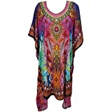 Boho Chic Designs Womens FrancescaCaftan Dress Summer Pink Round Neck Neck Jewels Bikini Cover Up One Size