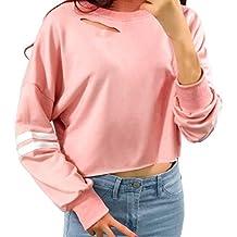 7bb5a7c74b0bf Venmo Mujeres Hollow out Cropped Tops Sudadera Corta Mujer de Manga Larga  Camisetas Mujer Cropped Jumper