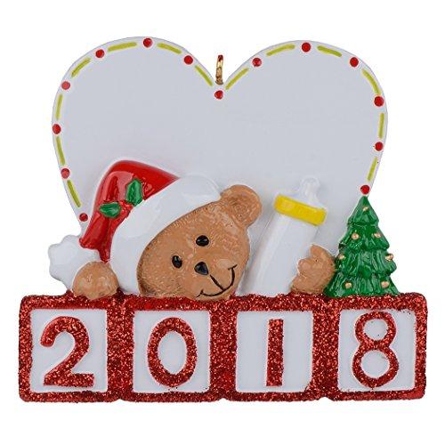 MAXORA Personalisierte Bär Ornament 2018Baby 's 1st